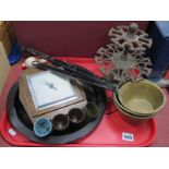 'Bass' Gerling Tray, oak barometer, iron desk stand, brass pans with elongated iron handles, etc:-