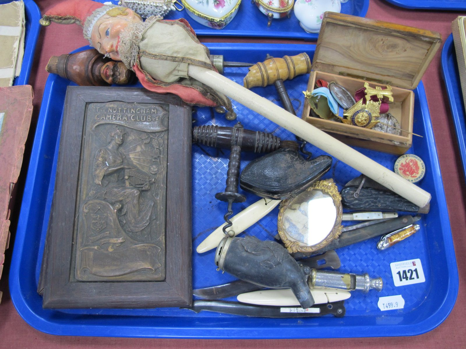 A XIX Century Child's Rattle, in the form or Mr Punc.h. Two early XX Century Nottingham camera