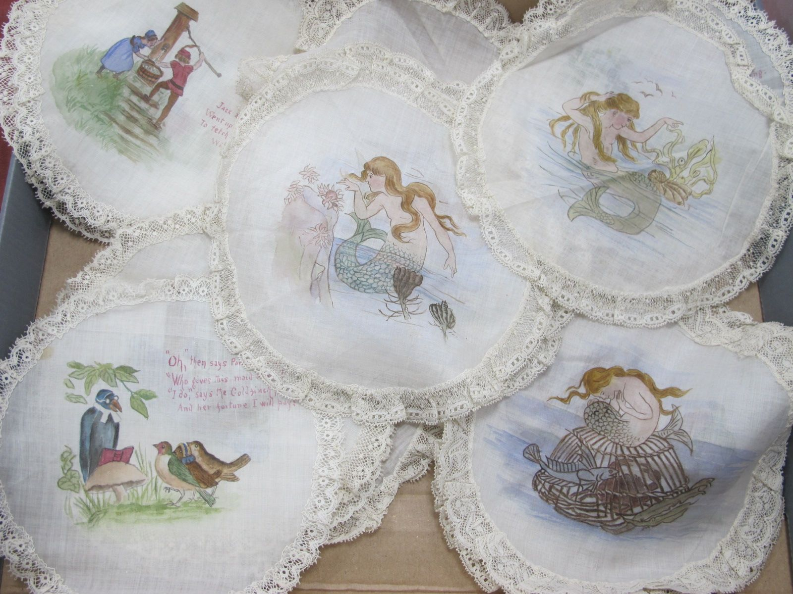 Late XIX Century Silk and Lace Dollies, with hand painted with various, Jack and Jill and