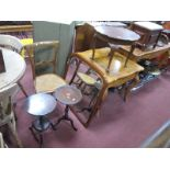 A Walnut Coffee Table, two wine tables, bedroom chair, mirror. (5)