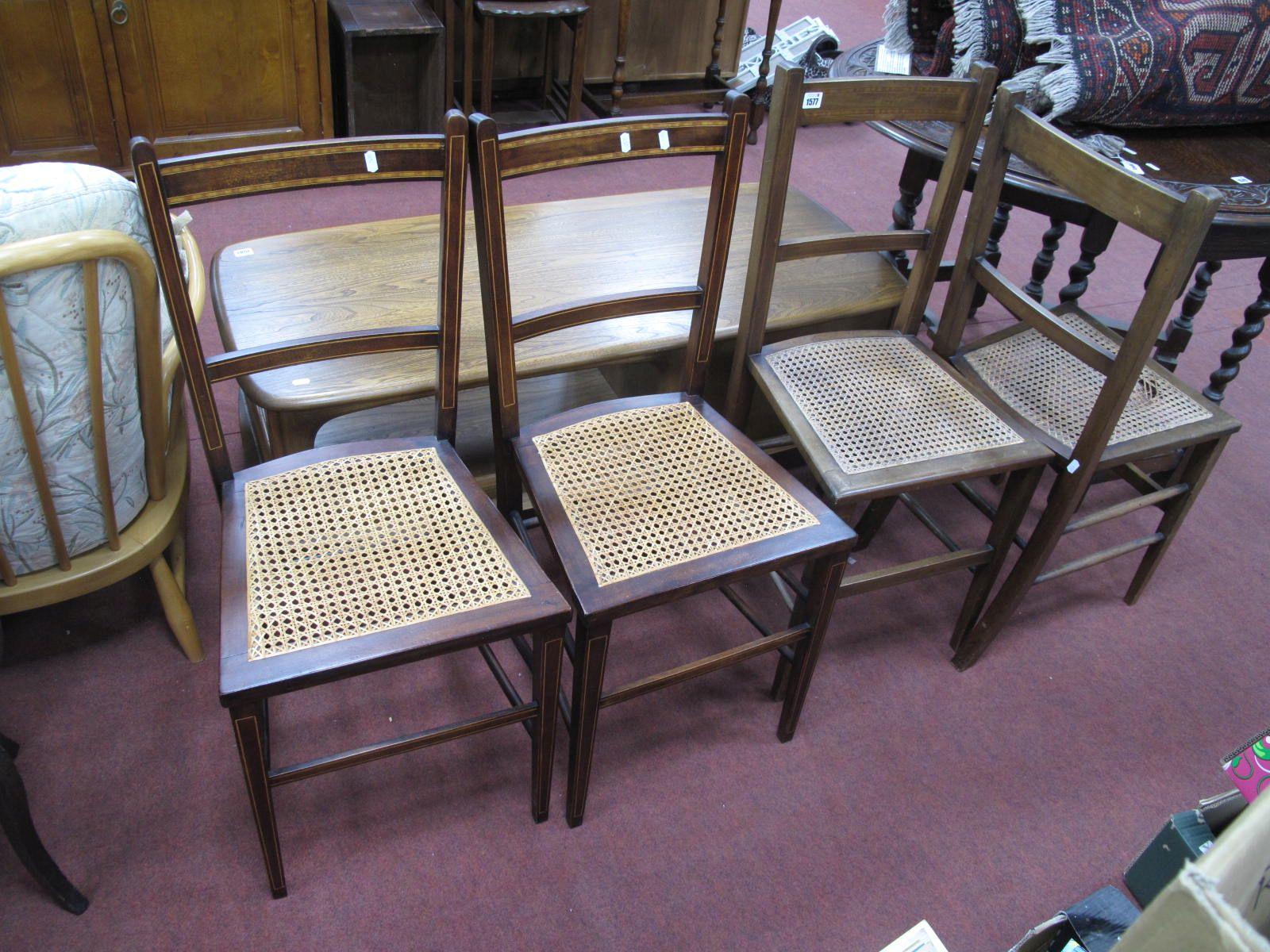 A Set of Four Edwardian Inlaid Mahogany Bedroom Chairs.