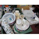 Glassware, Portmeirion Botanic Garden cylinder vase, bust, chamber pot, tea ware, etc:- Two Boxes