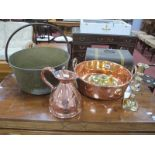 A XIX Century Brass Jam Pan, with iron loop handle, copper jug, two handled pan, 34cm at widest