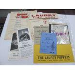 Puppet Ephemera, 1950's, flyer posters.