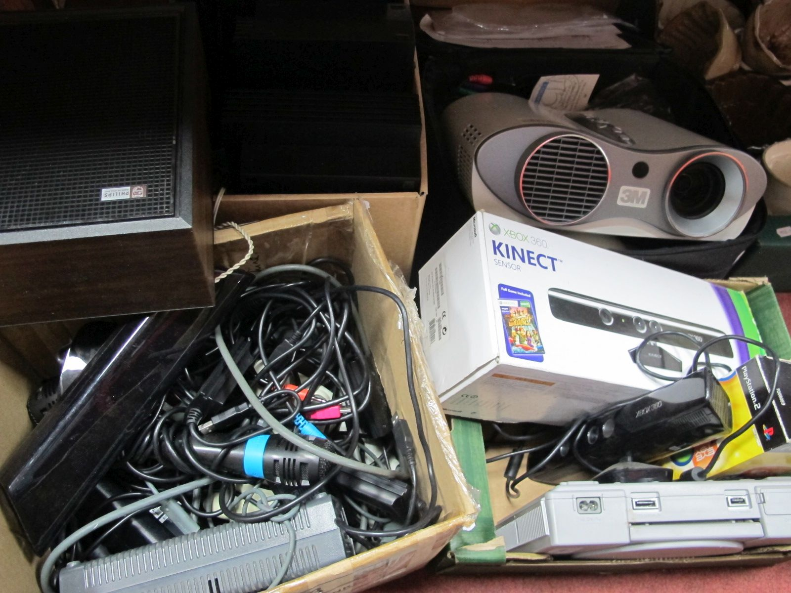 Sony Playstations, X Box 360, handsets, etc:- Three Boxes (untested sold for parts only)