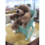 A Lloyd Loom Style Green Painted Child's Rocking Chair, bedroom chair, Kooke Bear. (3)