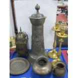 A Large German Flagon, lantern style clock, brass candlesticks etc:- One Tray.