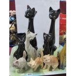 Pottery Cats, including Jerna, Sylvac:- One Tray.