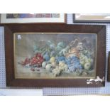 F. Mabins, still life of fruit watercolour, signed lower right, 38.5 x 72cm.