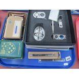 Microsoft Desk Top, pen stand, clock keying, egg timer (boxed), Guinness pen, Parker pen,