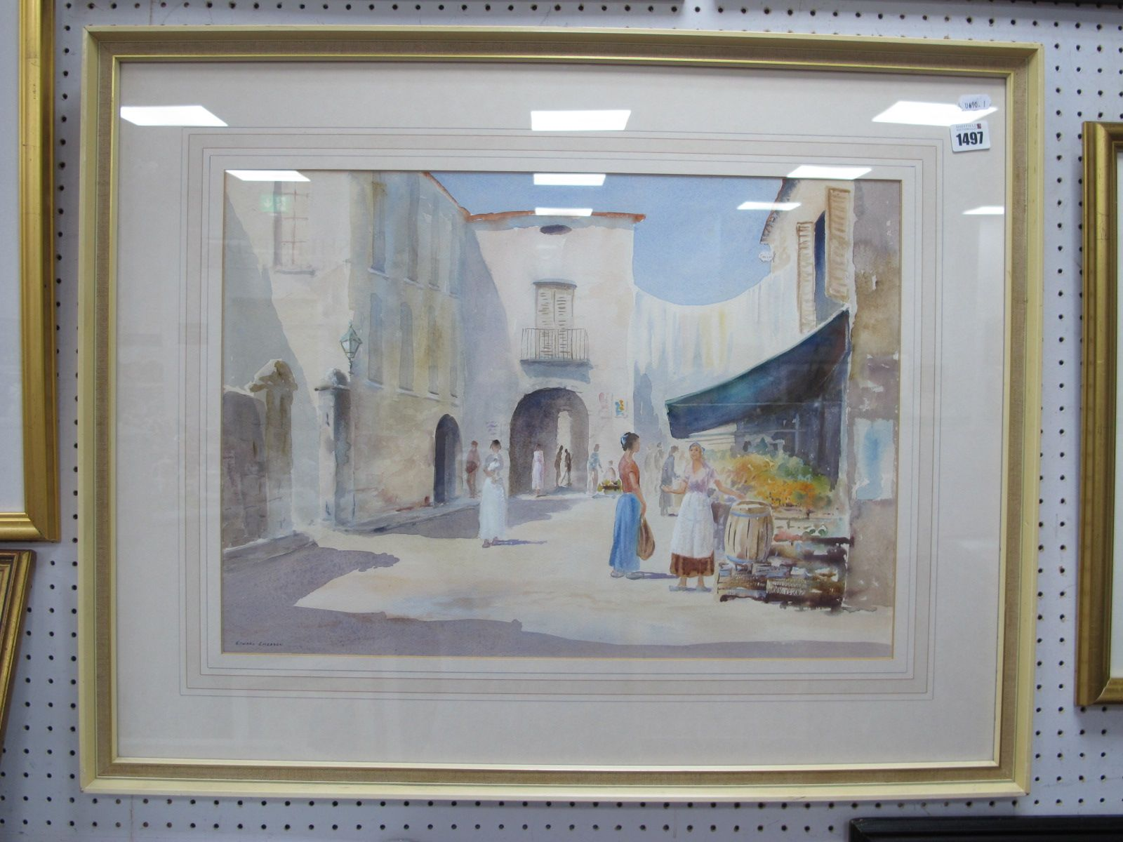Edward Emerson, Continental Market Stall Scene, Watercolour, 38 x 53cm, signed lower left.