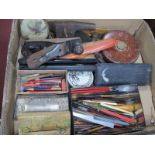An Early XX Century Rabone Chesterman Leather Cased Tape Measure, rulers, technical drawing sets,