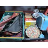 Lawn Green Bowls, dolls clothing, Fisher Price record player, needlework box, Tala pastry cutters,