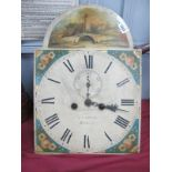 A XIX Century Longcase Clock, white dial, by R.H. Bryan of Retford, featuring castle scene.