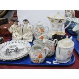 London Ribbon Plates, Oriental tea ware, and book ends, VAT 69 water jug, tea pots:- One Tray.