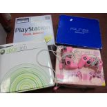 Sony Playstation 2, Sonly Playstaion Dual Shock, Playstation Pink 2, X Box 360, all boxed, unchecked
