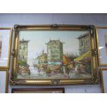 S. Elcarto? Impressionist City Centre Study, oil on canvas, circa 1970's, 59.5 x 89.5cm, signed