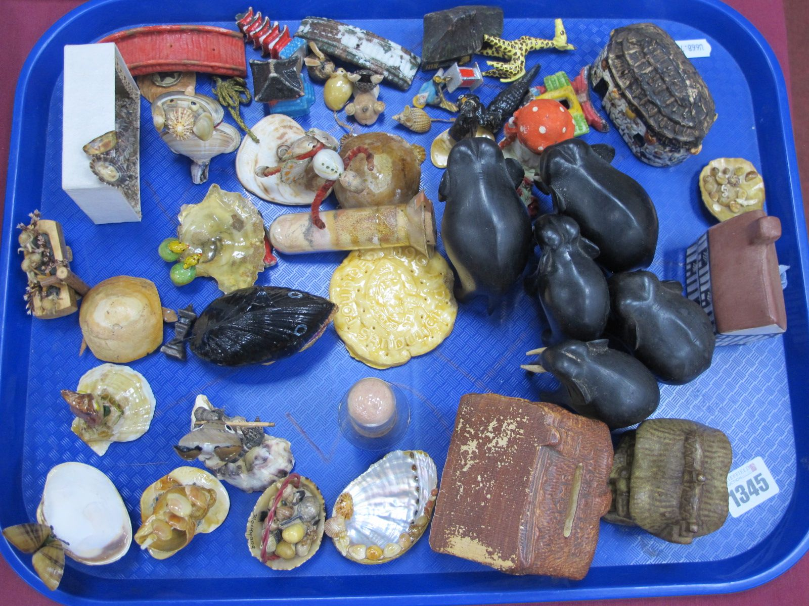 Shell Art Figures, of an owl, turtle, etc, ebony elephants, pottery houses, one of which is a money