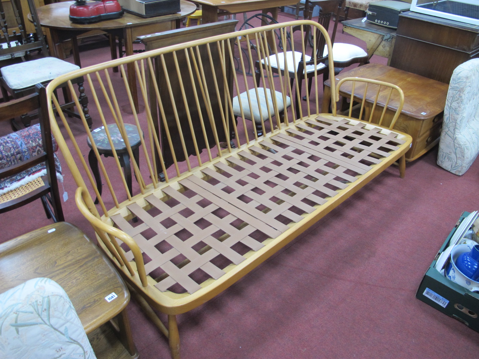 Ercol Light Wood Three Seater Settee, having rail back and splayed squat feet, approximately 192cm - Image 2 of 3