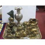 Oriental Brass Buddha Figures, the largest 13.5cm, frog money box, horses, dragon jug, vase, etc:-