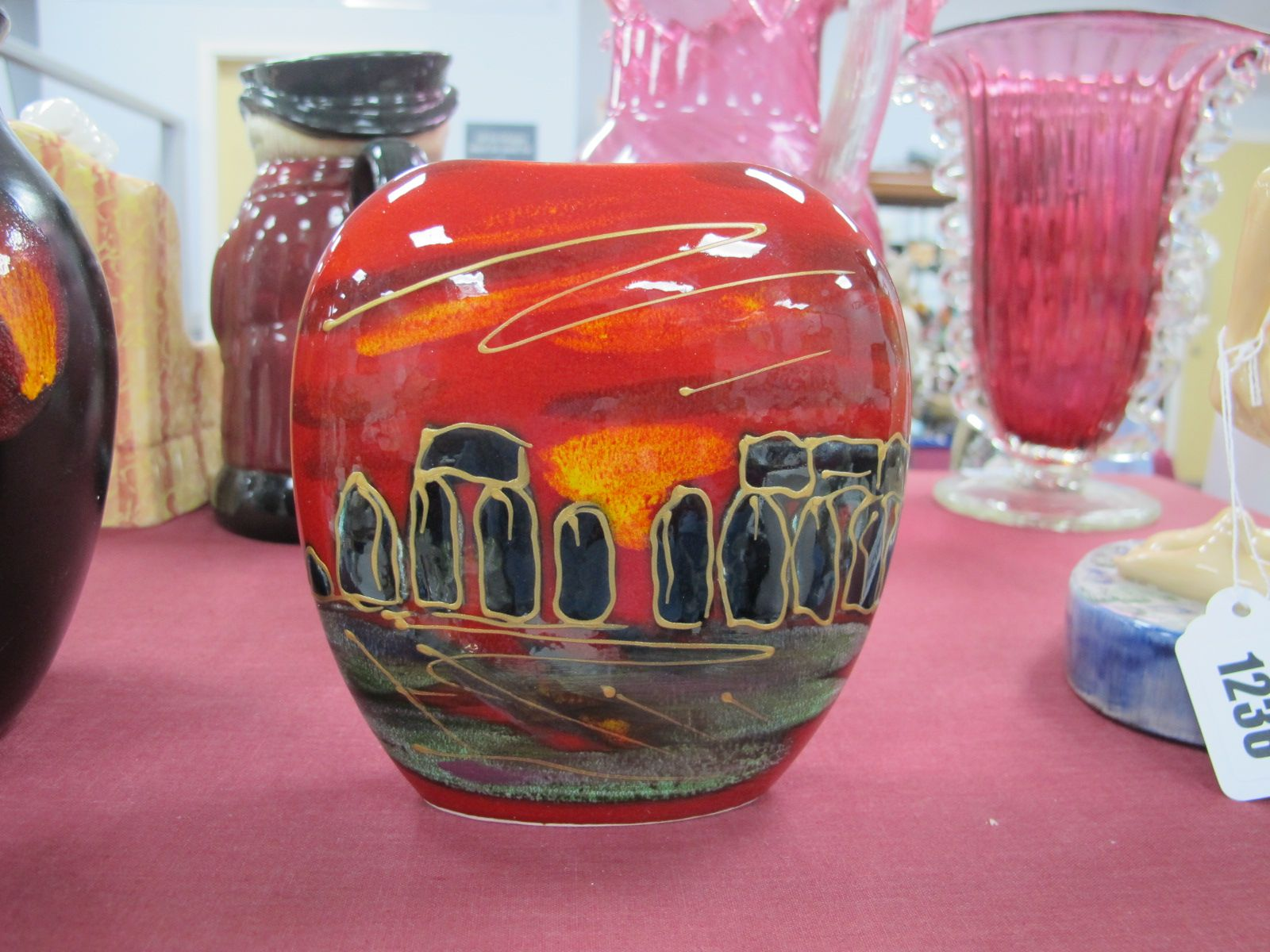 Anita Harris 'Stonehenge' Purse Vase, gold signed, 12cm high.