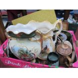A XIX Century Vase, XIX Century jug, Palissy plates, etc:- One Box.