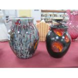 A Poole Pottery Ovid Pottery Vase, with streaked design, 19cm high, a black example with flame