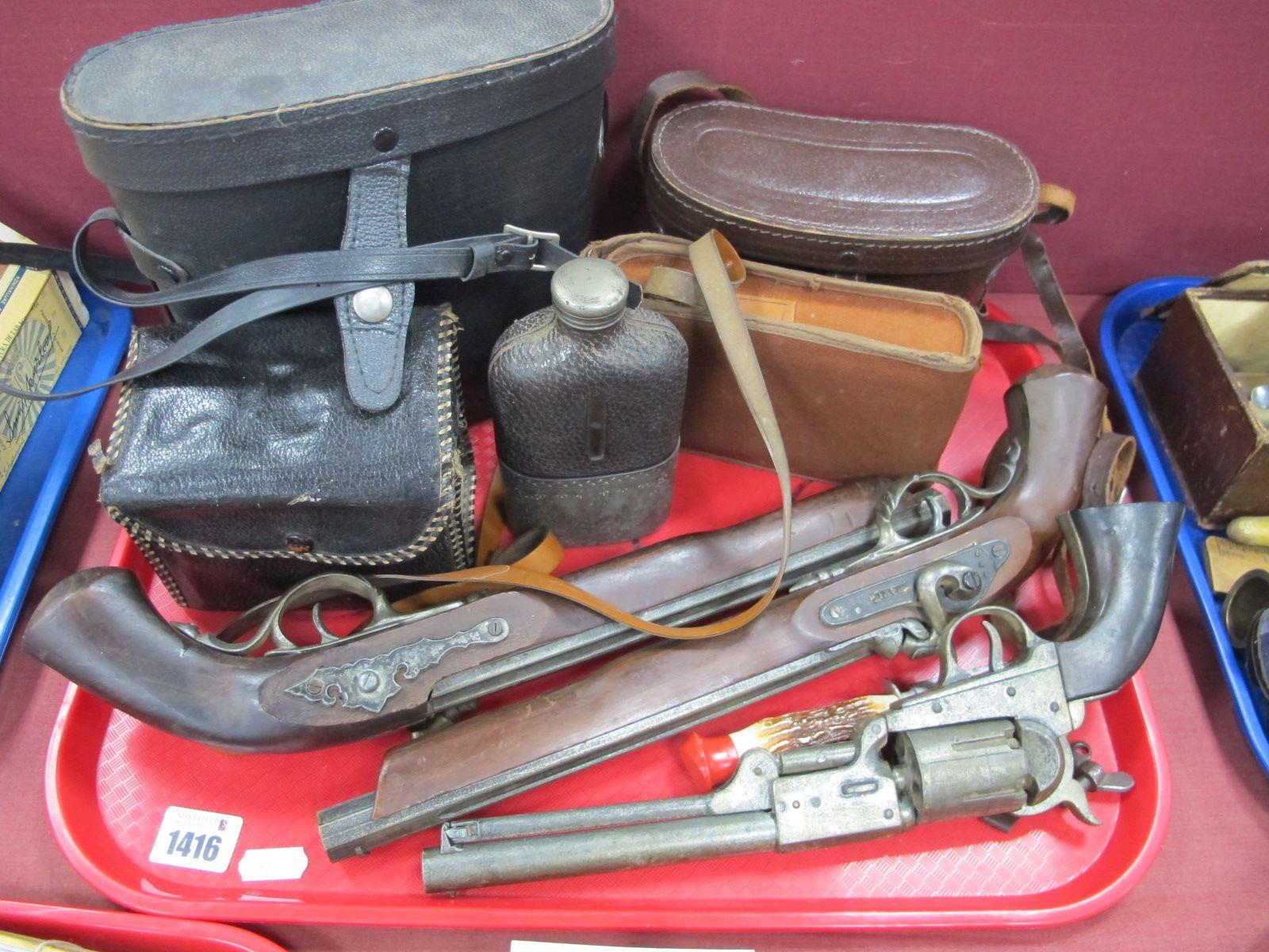 Halina and Other Binoculars, replica pistols cameras, etc:- One Tray.