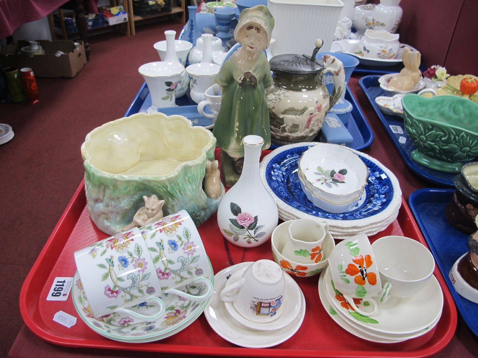Minton 'Haddon Hall' Cup and Saucer, Sylvac elf Bowl, 1930's figures, other ceramics:- One Tray