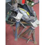 Mechamps Tools, pair of Medco axle stands, trolley jacks, electric motor etc:- One Box.