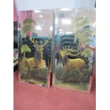 A Pair of Rectangular Bevelled Wall Mirrors, each painted with stag, 61 x 30.5cm