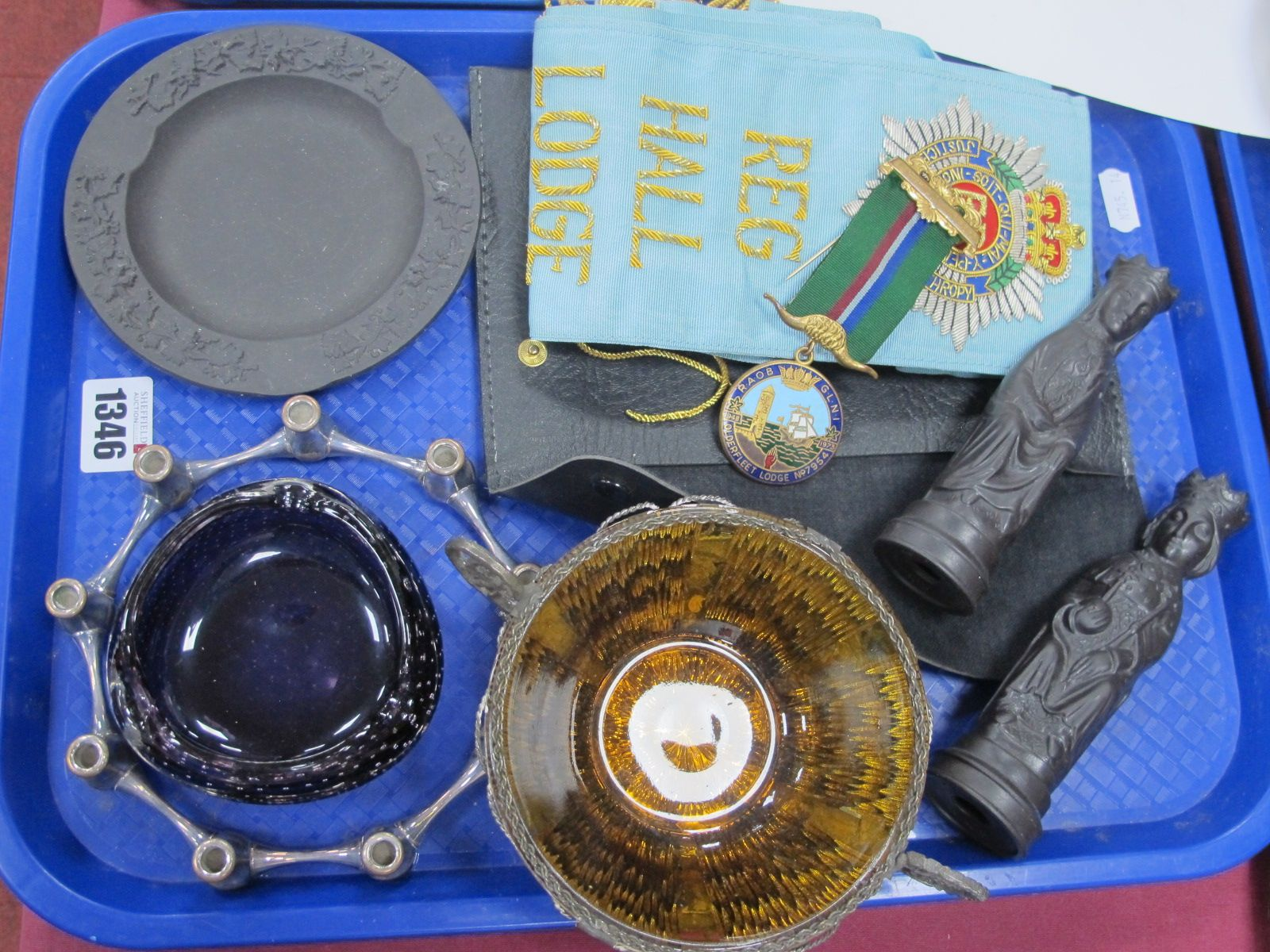 A Danish Plated Nine Sided Candle Holder, black matt King and Queen, Masonic Ware, etc:- One Tray
