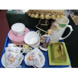 Shelley China Part Tea Service, Goebel figure, cheese dish and a green glass base lamp, etc:-