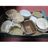 Thirteen Ceramic Jelly Moulds, by Lovatts, etc mostly early XX Century.