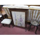 A 1930's Oak Fire screen, with a woolwork panel of flowers,upholsted stool and a painted stool. (3)