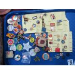 Enamelled & Tin Lapel Badges, stick pins, many Eastern Bloc examples, Lone Star Sheriff, Butlins