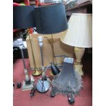 Six Table Lamps, untested sold for parts only, a folding table.