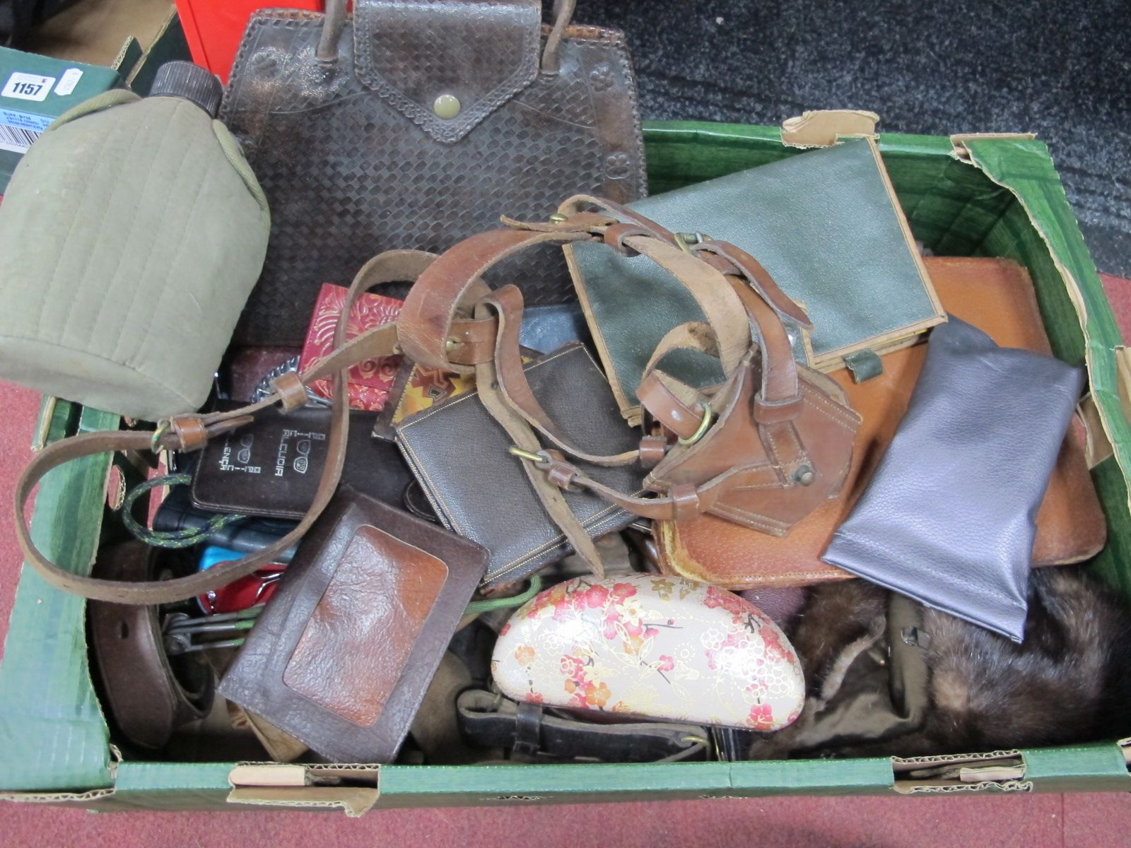 Ladies Leather Purses, gents leather wallets, sunglasses, etc:- One Box.