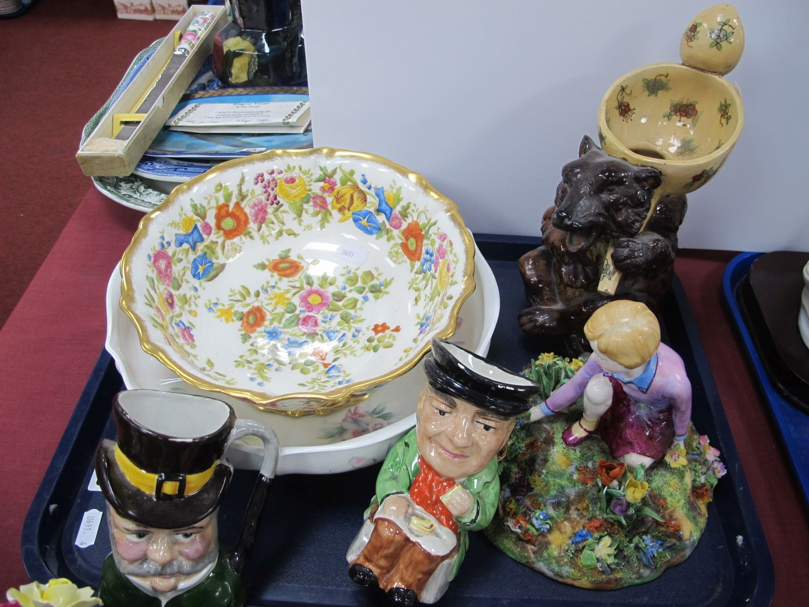 A XIX Century Pottery Bear Jug, 24cm high. T. Bayley figurine, Aynsley and other bowl, Toby jugs,