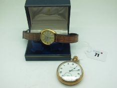 Limit; A Gold Plated Cased Openface Pocketwatch, the signed dial with black Roman numerals and