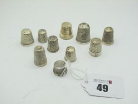 Hallmarked Silver and Other Thimbles, including Charles Horner.