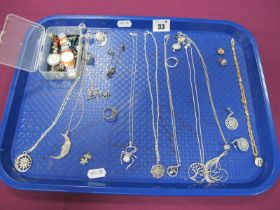 """A Collection of """"925"""" and Other Spider Pendants on Chains, sun and moon pendants on chains,"""