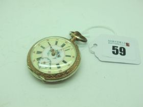 A Highly Decorative German Openface Pocketwatch, the cream and white dial with foliate highlights,