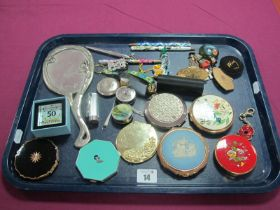 Stratton and Other Powder Compacts, including Wedgwood Jasperware, lipstick case, hand mirror,