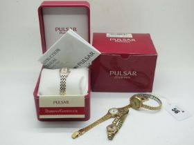 Pulsar Diamonds Modern Ladies Wristwatch, in original box; together with a vintage 9ct gold cased