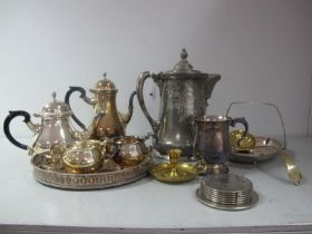An American Eagle Silver Co Quadruple Plate Lidded Water Jug, foliate and shell decorated, overall