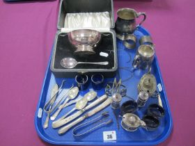 Hallmarked Silver Teaspoons, a hallmarked silver cruet set, plated twin handled christening dish and