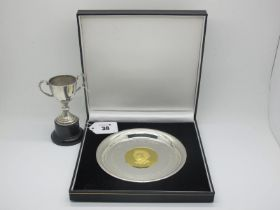 """A Hallmarked Silver Gilt Royal Commemorative Medallion, inset within plain dish """"H.M. Queen"""