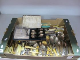 A Mixed Lot of Assorted Plated Cutlery, including a cased set of hallmarked silver teaspoons,