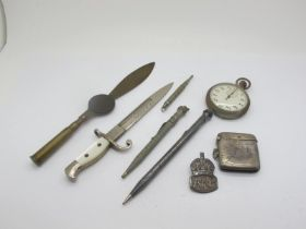 """A Bayonet Style Letter Opener, with mother of pearl handle, marked """"Ypres"""", 16.8cm long; a"""